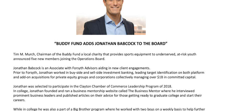 Buddy Fund Adds Jonathan Babcock to the Board