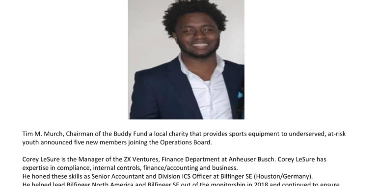 Corey Leasure Named Buddy Fund's Newest Board Member